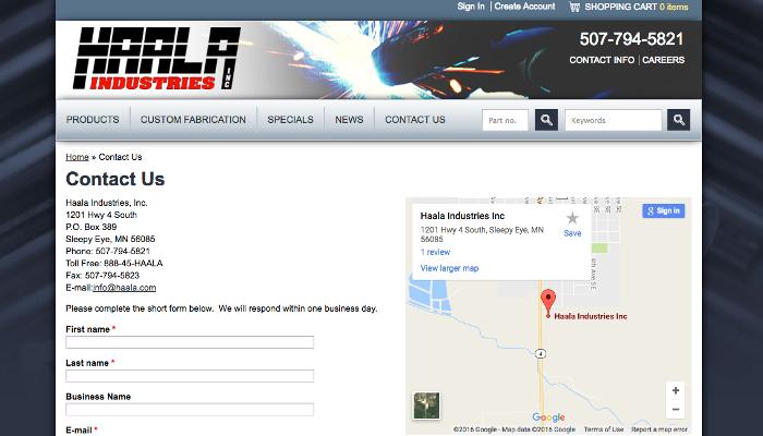 Haala Contact Page