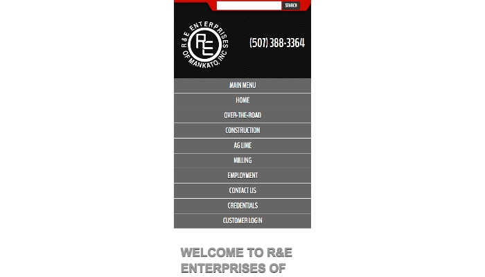 R and E mobile menu
