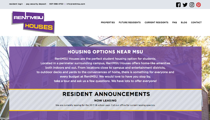 Rent MSU Home page