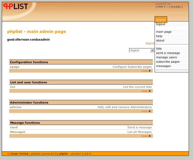 PHPList main screen